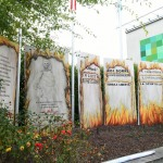 Foto Nicoloro G.   01/10/2020  Conselice ( RA ) Celebrazione del 14° anniversario del Monumento alla Liberta' di Stampa. nella foto le grandi riproduzioni delle prime pagine dei giornali stampati clandestinamente durante la Resistenza e che fanno parte del monumento.