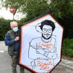 Foto Nicoloro G.   01/10/2020  Conselice ( RA ) Celebrazione del 14° anniversario del Monumento alla Liberta' di Stampa. nella foto un aquilone per Patrick Zaky, lo studente egiziano detenuto ormai da mesi.
