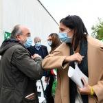 Foto Nicoloro G.   01/10/2020  Conselice ( RA ) Celebrazione del 14° anniversario del Monumento alla Liberta' di Stampa. nella foto il saluto tra Giuseppe Giulietti e Elly Schlein.