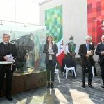 Foto Nicoloro G.   01/10/2020  Conselice ( RA ) Celebrazione del 14° anniversario del Monumento alla Liberta' di Stampa. nella foto da sinistra Carlo Verdelli, Elly Schlein, Ivano Artioli e Giuseppe Giulietti.