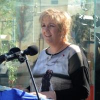 Foto Nicoloro G. 01/10/2012 Conselice ( Ravenna ) Celebrazioni per il sesto anniversario del Monumento alla Stampa Clandestina e alla Libertà di Stampa, secondo in Europa con l' altro che si trova nella città di Almeria in Spagna. nella foto Maria Covadonga Porrùa Rosa