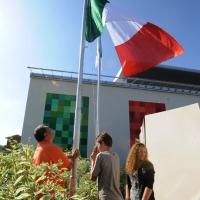 Foto Nicoloro G. 01/10/2012 Conselice ( Ravenna ) Celebrazioni per il sesto anniversario del Monumento alla Stampa Clandestina e alla Libertà di Stampa, secondo in Europa con l' altro che si trova nella città di Almeria in Spagna. nella foto L'alzabandiera