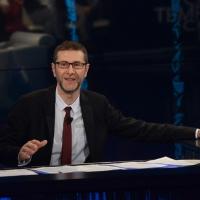 """Foto Nicoloro G.  09/03/2014  Milano   Trasmissione televisiva su Rai 3 """" Che tempo che fa """". nella foto  Fabio Fazio."""
