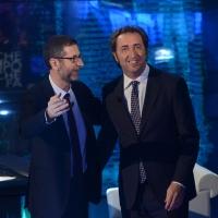 """Foto Nicoloro G.  09/03/2014  Milano   Trasmissione televisiva su Rai 3 """" Che tempo che fa """". nella foto Fabio Fazio e il regista premio Oscar Paolo Sorrentino."""