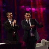 """Foto Nicoloro G.  09/03/2014  Milano   Trasmissione televisiva su Rai 3 """" Che tempo che fa """". nella foto Fabio Fazio accoglie in studio il presidente del Consiglio Matteo Renzi."""