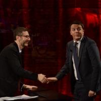 """Foto Nicoloro G.  09/03/2014  Milano   Trasmissione televisiva su Rai 3 """" Che tempo che fa """". nella foto Fabio Fazio e il presidente del Consiglio Matteo Renzi."""
