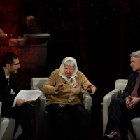 """Foto Nicoloro G.  26/01/2014  Milano   Trasmissione televisiva su Rai 3 """" Che tempo che fa """". nella foto Fabio Fazio, Vera Vigevani Jarach e Ferruccio de Bortoli."""