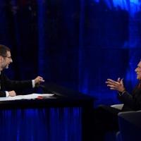 """Foto Nicoloro G.  26/01/2014  Milano   Trasmissione televisiva su Rai 3 """" Che tempo che fa """". nella foto Fabio Fazio e il presidente del Senato Pietro Grasso."""
