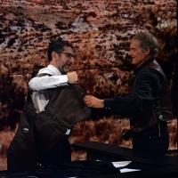 """Foto Nicoloro G.  26/01/2014  Milano   Trasmissione televisiva su Rai 3 """" Che tempo che fa """". nella foto Terence Hill regala a Fabio Fazio un gilet da cow-boy."""