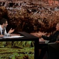 """Foto Nicoloro G.  26/01/2014  Milano   Trasmissione televisiva su Rai 3 """" Che tempo che fa """". nella foto Fabio Fazio e Terence Hill."""