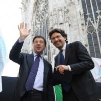 Foto Nicoloro G. 13/05/2011 Milano Chiusura della campagna elettorale del Terzo Polo per le elezioni amministrative 2011. nella foto Italo Bocchino – Manfredi Palmeri