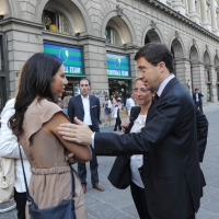 Foto Nicoloro G. 13/05/2011 Milano Chiusura della campagna elettorale del Terzo Polo per le elezioni amministrative 2011. nella foto Sara Giudice – Chiara Moroni – Italo Bocchino