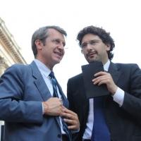 Foto Nicoloro G. 13/05/2011 Milano Chiusura della campagna elettorale del Terzo Polo per le elezioni amministrative 2011. nella foto Benedetto Della Vedova – Manfredi Palmeri