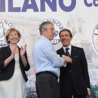 Foto Nicoloro G. 13/05/2011 Milano Chiusura della campagna elettorale della Lega Nord. nella foto Letizia Moratti – Umberto Bossi – Luciano Bresciani
