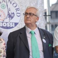 Foto Nicoloro G. 13/05/2011 Milano Chiusura della campagna elettorale della Lega Nord. nella foto Mario Borghezio
