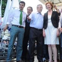 Foto Nicoloro G. 13/05/2011 Milano Chiusura della campagna elettorale della Lega Nord. nella foto Matteo Salvini – Luciano Bresciani – Umberto Bossi – Letizia Moratti