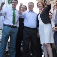 Foto Nicoloro G. 13/05/2011 Milano Chiusura della campagna elettorale della Lega Nord. nella foto Matteo Salvini – Umberto Bossi – Letizia Moratti