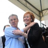 Foto Nicoloro G. 13/05/2011 Milano Chiusura della campagna elettorale della Lega Nord. nella foto Umberto Bossi – Letizia Moratti