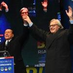 Foto Nicoloro G.   24/01/2020   Ravenna    Chiusura della campagna elettorale per le regionali dell' Emilia-Romagna. nella foto Silvio Berlusconi e Vittorio Sgarbi.