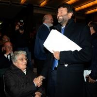 Foto Nicoloro G.  5/11/2015   Ravenna   Commemorazione del leader democristiano Benigno Zaccagnini a 25 anni dalla sua scomparsa. nella foto il ministro Dario Franceschini scherza con la moglie del leader scomparso Anna.