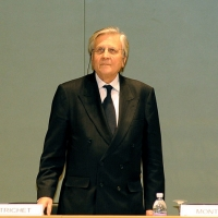 Foto Nicoloro G. 01/02/2011 Milano Commemorazione in Universita' Bocconi della figura dell' ex ministro del Tesoro Tommaso Padoa Schioppa alla presenza del Capo dello Stato. nella foto Jean-Claude Trichet