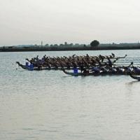 Foto Nicoloro G.  07/09/2014   Ravenna   Giornata conclusiva della nona edizione dell' IDBF,  Campionati Mondiali per club di Dragon Boat. Partecipano 27 nazioni, 5300 atleti, 129 club che gareggeranno nelle tre categorie Open maschili, femminili e misti. nella foto l' arrivo di una gara.