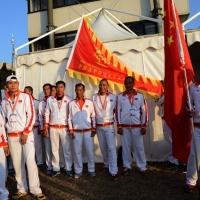 Foto Nicoloro G.  07/09/2014   Ravenna   Giornata conclusiva della nona edizione dell' IDBF,  Campionati Mondiali per club di Dragon Boat. Partecipano 27 nazioni, 5300 atleti, 129 club che gareggeranno nelle tre categorie Open maschili, femminili e misti. nella foto atleti della Cina.