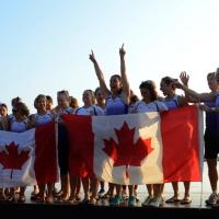 Foto Nicoloro G.  07/09/2014   Ravenna   Giornata conclusiva della nona edizione dell' IDBF,  Campionati Mondiali per club di Dragon Boat. Partecipano 27 nazioni, 5300 atleti, 129 club che gareggeranno nelle tre categorie Open maschili, femminili e misti. nella foto atlete del Canada esultano per la vittoria nella loro categoria.