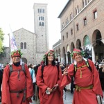 Foto Nicoloro G.   12/09/2021   Ravenna   Questa giornata segna il culmine delle celebrazioni dei 700 anni dalla morte di Dante. nella foto tre partecipanti al ' cammino di Dante '.
