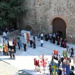 Foto Nicoloro G.   12/09/2021   Ravenna   Questa giornata segna il culmine delle celebrazioni dei 700 anni dalla morte di Dante. nella foto sul sagrato della basilica di San Francesco le autoritaì' ecclesiastiche attendono l' ingresso in chiesa dei sindaci d' Italia delle autorita' e del pubblico per la solenne messa.
