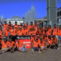 Foto Nicoloro G.   29/08/2014  Rimini      Sesta giornata della XXXV edizione del Meeting per l' amicizia fra i popoli. nella foto un gruppo dei circa 3000 volontari che in maniera determinante partecipano alla riuscita del Meeting.