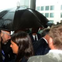 Foto Nicoloro G.   25/08/2015    Rimini    Sesta giornata dell' edizione 2015 del Meeting di C.L. dal titolo ' Di che è mancanza questa mancanza, cuore, che a un tratto ne sei pieno ? '. nella foto una pioggia scrosciante si e' scatenata all' arrivo del premier Matteo Renzi.