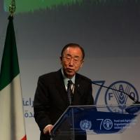 Foto Nicoloro G.   16/10/2015    Milano  In occasione della Giornata Mondiale dell' Alimentazione si e' svolto in Expo un incontro al quale hanno preso parte il Capo di Stato e il segretario generale delle Nazioni Unite. nella foto segretario generale delle Nazioni Unite Ban Ki-moon.