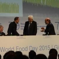 Foto Nicoloro G.   16/10/2015    Milano  In occasione della Giornata Mondiale dell' Alimentazione si e' svolto in Expo un incontro al quale hanno preso parte il Capo di Stato e il segretario generale delle Nazioni Unite. nella foto da sinistra il ministro Paolo Gentiloni, il segretario delle N U Ban Ki-moon, il Presidente Sergio Mattarella e il direttore generale FAO Jose' G. Da Silva.