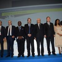 Foto Nicoloro G.   16/10/2015    Milano  In occasione della Giornata Mondiale dell' Alimentazione si e' svolto in Expo un incontro al quale hanno preso parte il Capo di Stato e il segretario generale delle Nazioni Unite. nella foto Foto di gruppo con al centro il Presidente Sergio Mattarella e il segretario NU Ban Ki-moon.