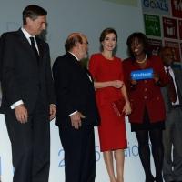 Foto Nicoloro G.   16/10/2015    Milano  In occasione della Giornata Mondiale dell' Alimentazione si e' svolto in Expo un incontro al quale hanno preso parte il Capo di Stato e il segretario generale delle Nazioni Unite. nella foto da sinistra il presidente della Slovenia Borut Pahor, Jose' G. Da Silva, la regina Letizia di Spagna e Ertharin Cousin.