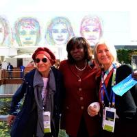 Foto Nicoloro G.   16/10/2015    Milano  In occasione della Giornata Mondiale dell' Alimentazione si e' svolto in Expo un incontro al quale hanno preso parte il Capo di Stato e il segretario generale delle Nazioni Unite. nella foto da sinistra Emma Bonino, Ertharin Cousin e Marta Dassu'. presidente Women for Expo.