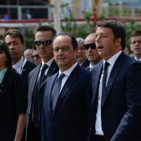 Foto Nicoloro G.  21/06/2015  Milano  Visita all' Expo del presidente della Repubblica francese. nella foto il presidente Francois Hollande con il premier Matteo Renzi.