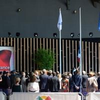 Foto Nicoloro G. 21/06/2015 Milano Giornata della Francia e visita all' Expo del presidente della Repubblica francese. nella foto l' alza bandiera della Francia all' arrivo del suo presidente Francois Hollande.