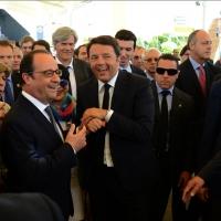 Foto Nicoloro G.  21/06/2015  Milano  Visita all' Expo del presidente della Repubblica francese. nell foto il presidente Francois Hollande con il premier Matteo Renzi.