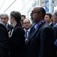 Foto Nicoloro G.  21/06/2015  Milano  Visita all' Expo del presidente della Repubblica francese. nella foto il presidente Francois Hollande al suo arrivo al Padiglione della Francia.