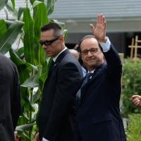 Foto Nicoloro G.  21/06/2015  Milano  Visita all' Expo del presidente della Repubblica francese. nella foto il presidente Francois Hollande saluta la folla assiepata per assistere al suo passaggio.