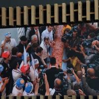 Foto Nicoloro G.  20/06/2015  Milano   Realizzata la pizza più lunga del mondo all' Expo 2015. nella foto tratta da un video l' ultima misurazione della pizza che risulterà di 1596,45 metri.