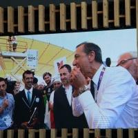 Foto Nicoloro G.  20/06/2015  Milano   Realizzata la pizza più lunga del mondo all' Expo 2015. nella foto tratta da un video il commissario unico di Expo Giuseppe Sala mangia il primo trancio della pizza record.