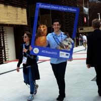 Foto Nicoloro G.   05/05/2015    Milano   Expo Milano 2015 si apre al mondo e si mette in mostra. nella foto due ragazzi offrono una cornice per una foto ricordo.