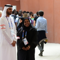 Foto Nicoloro G.   05/05/2015    Milano   Expo Milano 2015 si apre al mondo e si mette in mostra. nella foto addetti al padiglione degli Emirati Arabi.