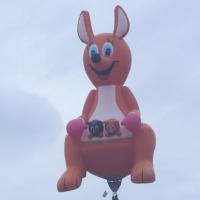 """Foto Nicoloro G.  19/09/2010 Ferrara  Sesta edizione del """" Ferrara Balloons Festival 2010 """", festival internazionale delle mongolfiere. Organizzato dal Comune e dalla Provincia di Ferrara vanta equipaggi provenienti da diverse parti del mondo. Il cattivo tempo meteo aveva impedito nel giorno dell' inaugurazione, il 17/09, il levarsi in aria delle mongolfiere e dei paramotori, ma oggi la manifestazione ha avuto il suo regolare svolgimento. nella foto Una mongolfiera a forma di canguro"""