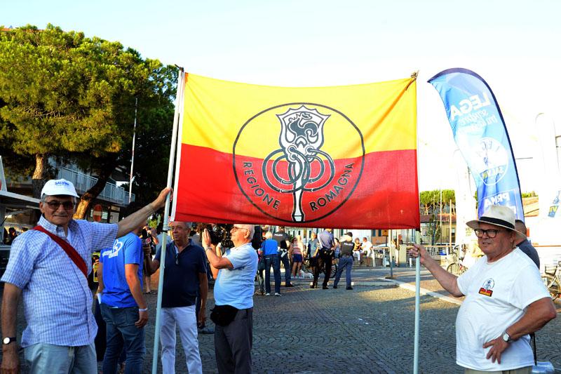 Foto Nicoloro G.   03/08/2019   Cervia ( Ra )   Festa della Lega Romagna. nella foto uno striscione.