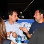 Foto Nicoloro G.   01/08/2020    Cervia ( RA ) Seconda serata della Festa della Lega Romagna che ha visto la presenza del leader del Carroccio. nella foto Matteo Salvini a tavola con il governatore del Friuli Venezia Giulia Massimiliano Fedriga.