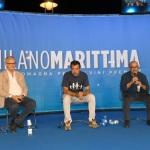 Foto Nicoloro G.   01/08/2020    Cervia ( RA ) Seconda serata della Festa della Lega Romagna che ha visto la presenza del leader del Carroccio. nella foto, da sinistra, Michele Brambilla direttore del Resto del Carlino, Matteo Salvini e il direttore del TG2 Gennaro Sangiuliano.